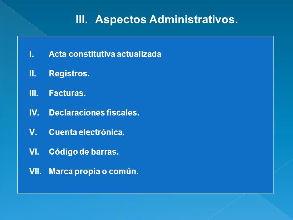 Aspectos Administrativos.