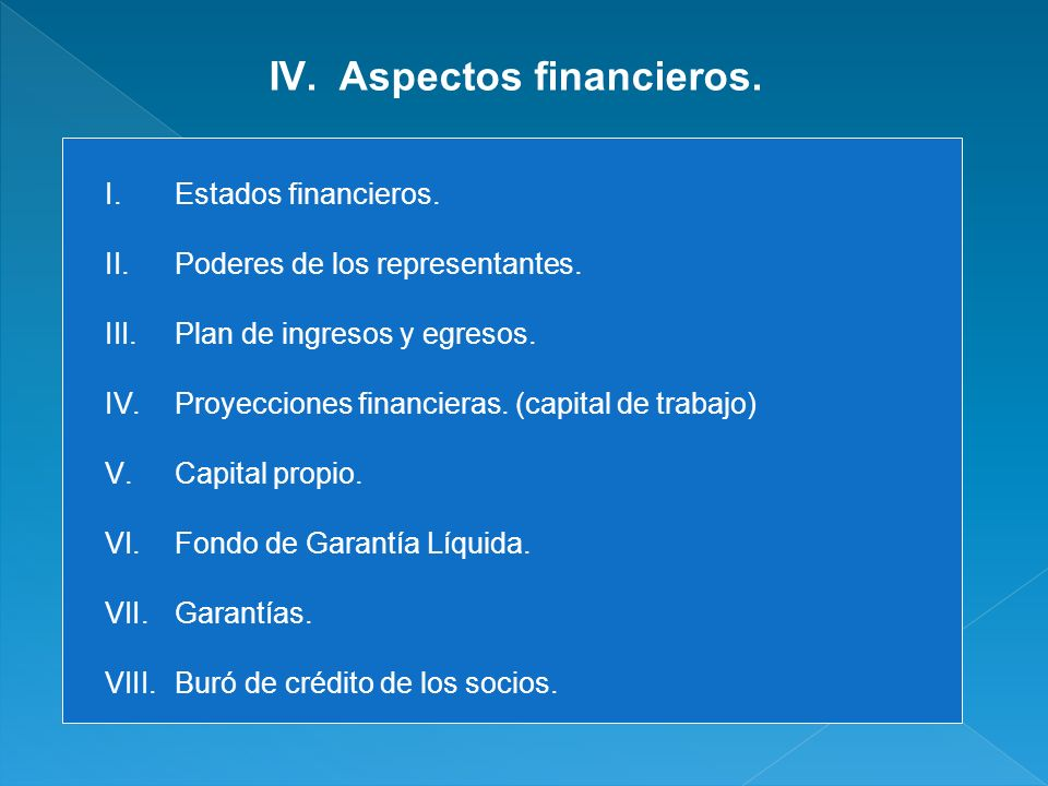 Aspectos financieros. Estados financieros.