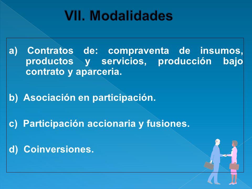 VII. Modalidades a) Contratos de: compraventa de insumos, productos y servicios, producción bajo contrato y aparceria.