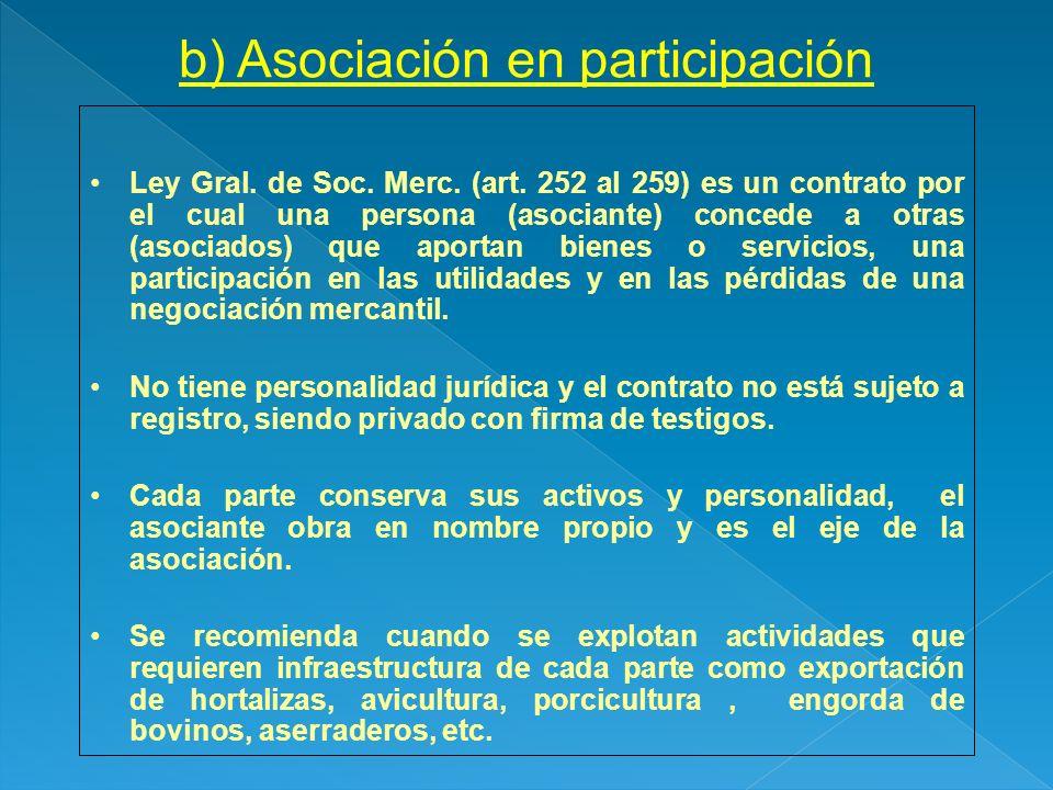 b) Asociación en participación