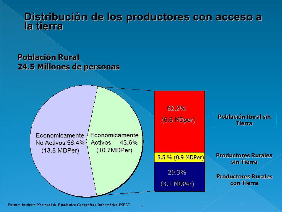Distribución de los productores con acceso a la tierra