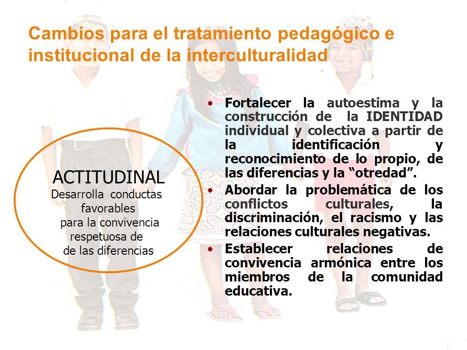 Cambios para el tratamiento pedagógico e institucional de la interculturalidad