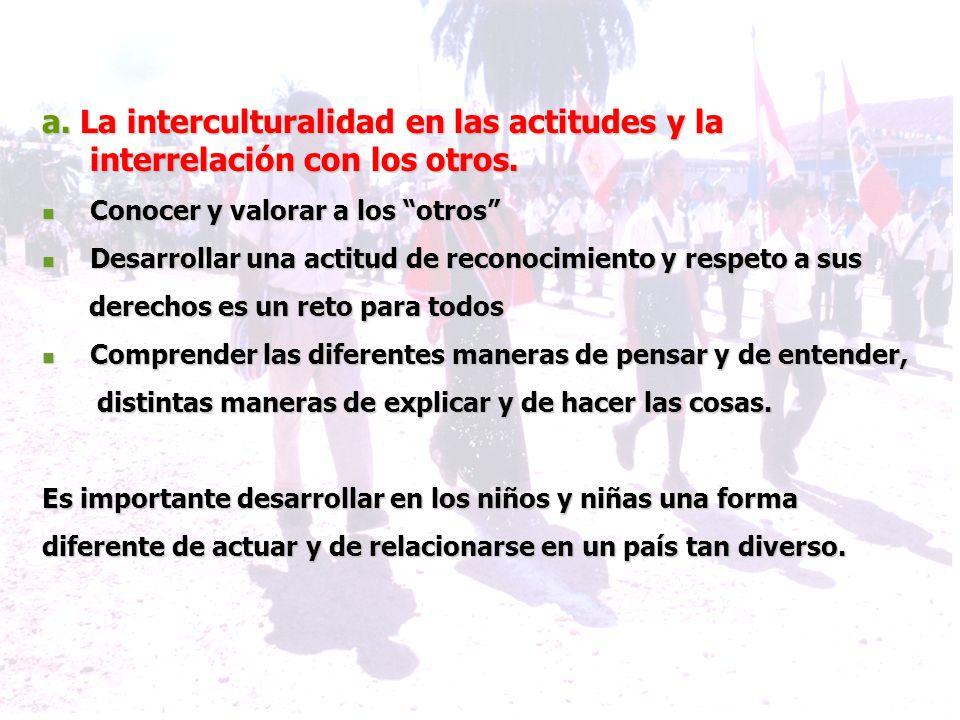 a. La interculturalidad en las actitudes y la interrelación con los otros.
