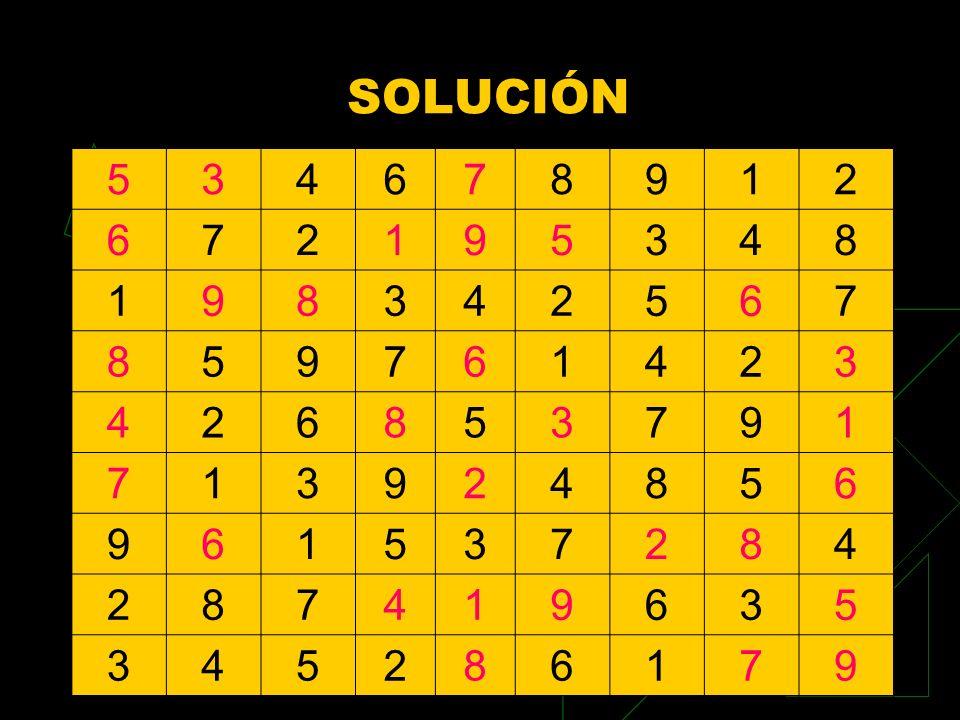 SOLUCIÓN 5 3 4 6 7 8 9 1 2