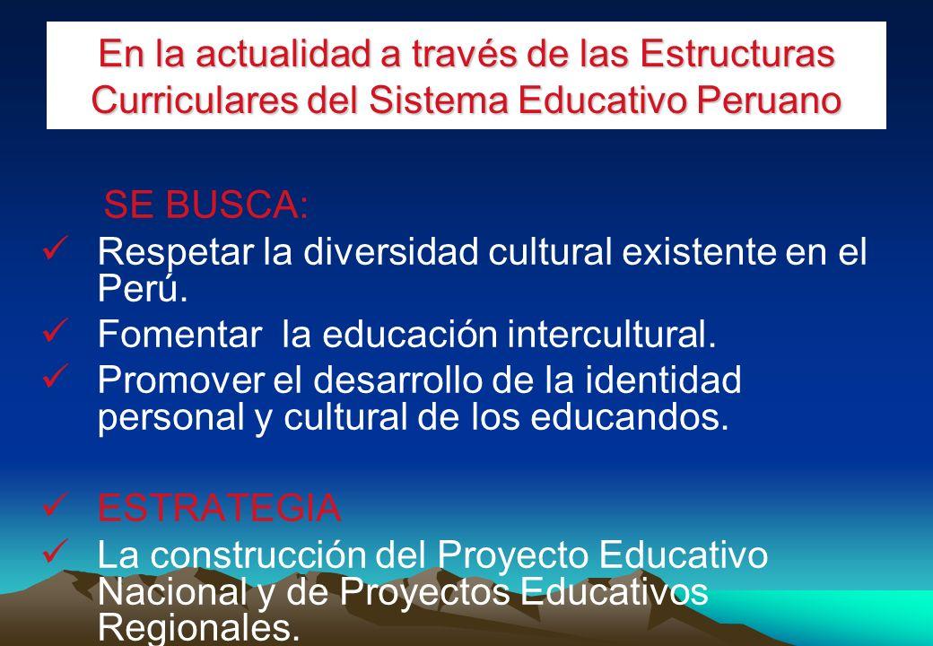 En la actualidad a través de las Estructuras Curriculares del Sistema Educativo Peruano