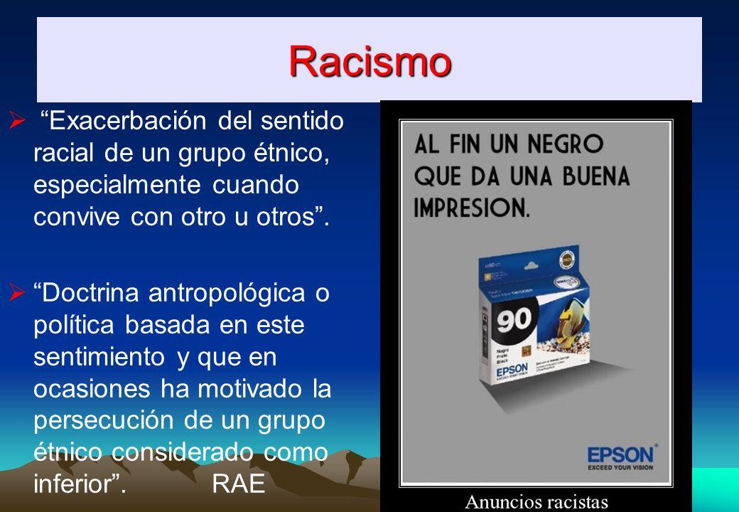 Racismo Exacerbación del sentido racial de un grupo étnico, especialmente cuando convive con otro u otros .