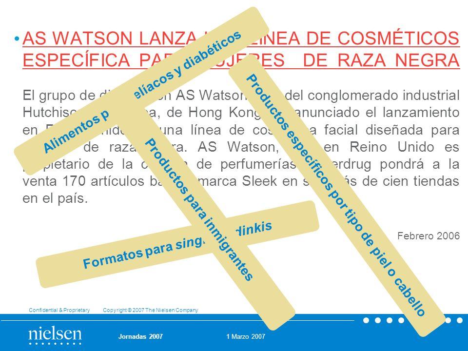 AS WATSON LANZA UNA LÍNEA DE COSMÉTICOS ESPECÍFICA PARA MUJERES DE RAZA NEGRA El grupo de distribución AS Watson, filial del conglomerado industrial Hutchison Whampoa, de Hong Kong, ha anunciado el lanzamiento en Reino Unido de una línea de cosmética facial diseñada para mujeres de raza negra. AS Watson, que en Reino Unido es propietario de la cadena de perfumerías Superdrug pondrá a la venta 170 artículos bajo la marca Sleek en sus más de cien tiendas en el país.