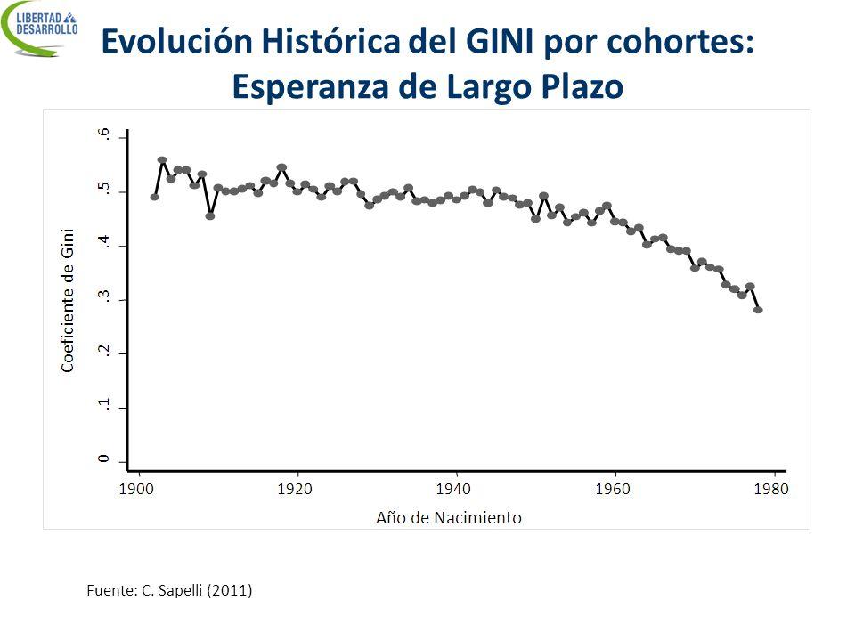 Evolución Histórica del GINI por cohortes: Esperanza de Largo Plazo