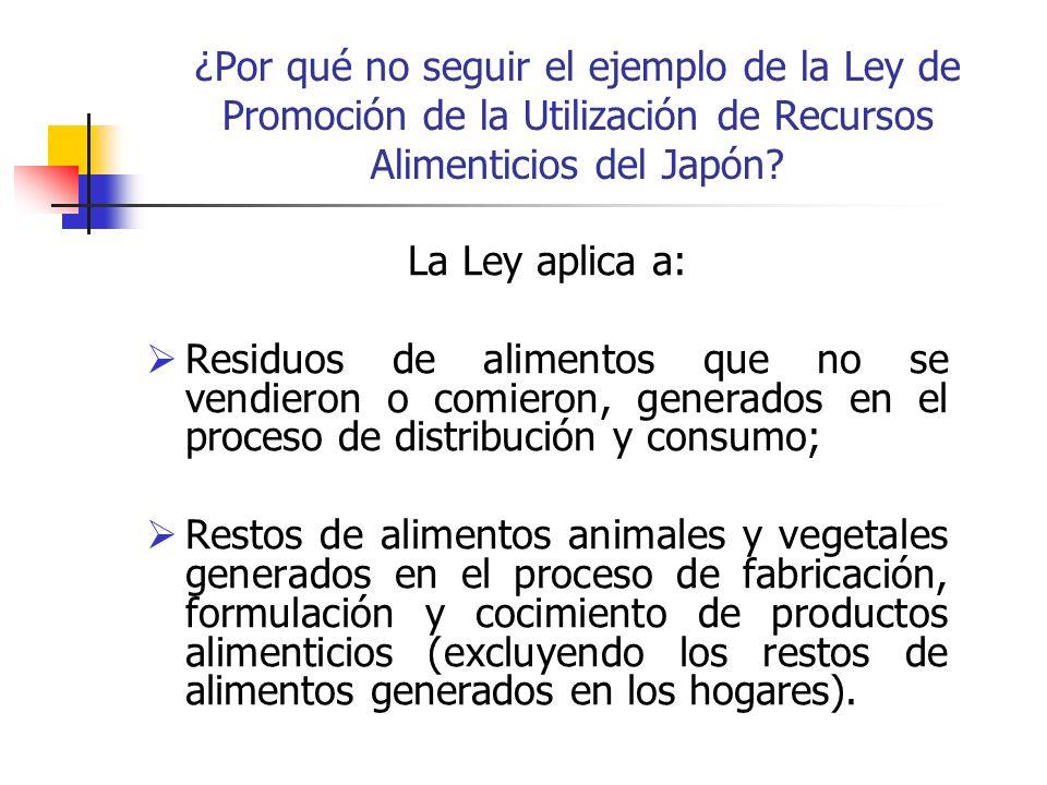 ¿Por qué no seguir el ejemplo de la Ley de Promoción de la Utilización de Recursos Alimenticios del Japón