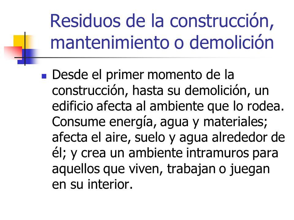 Residuos de la construcción, mantenimiento o demolición