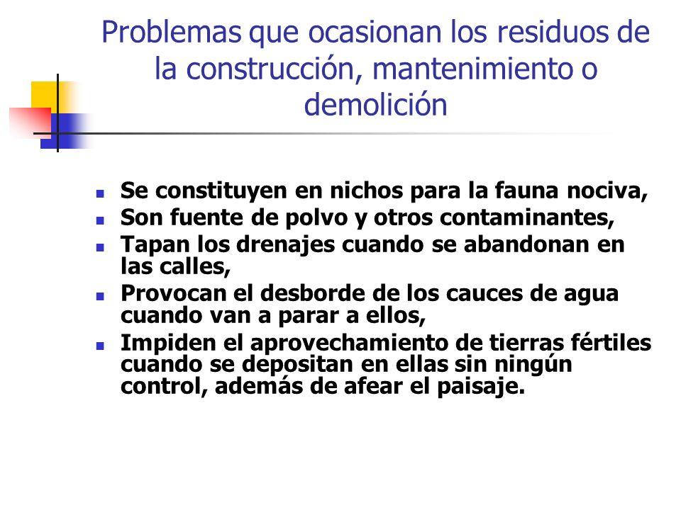 Problemas que ocasionan los residuos de la construcción, mantenimiento o demolición