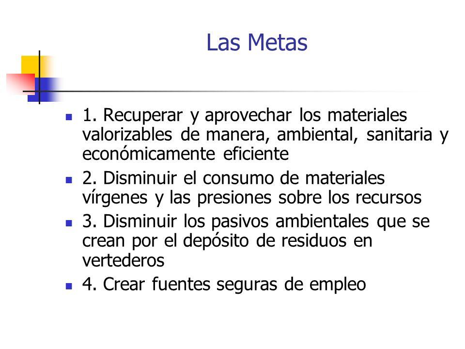 Las Metas 1. Recuperar y aprovechar los materiales valorizables de manera, ambiental, sanitaria y económicamente eficiente.