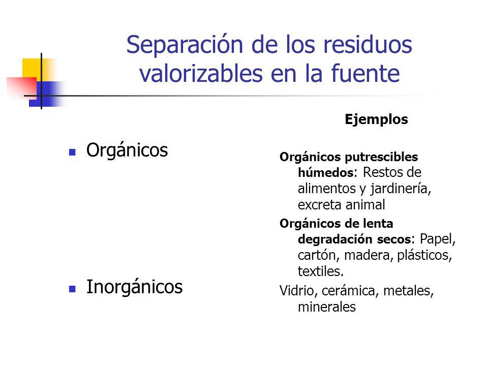 Separación de los residuos valorizables en la fuente