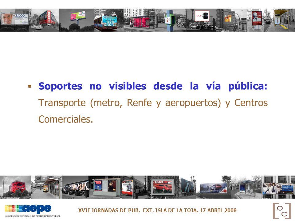 Soportes no visibles desde la vía pública: Transporte (metro, Renfe y aeropuertos) y Centros Comerciales.
