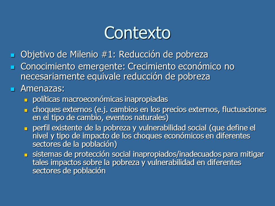 Contexto Objetivo de Milenio #1: Reducción de pobreza