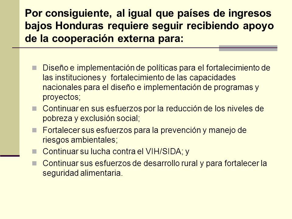 Por consiguiente, al igual que países de ingresos bajos Honduras requiere seguir recibiendo apoyo de la cooperación externa para: