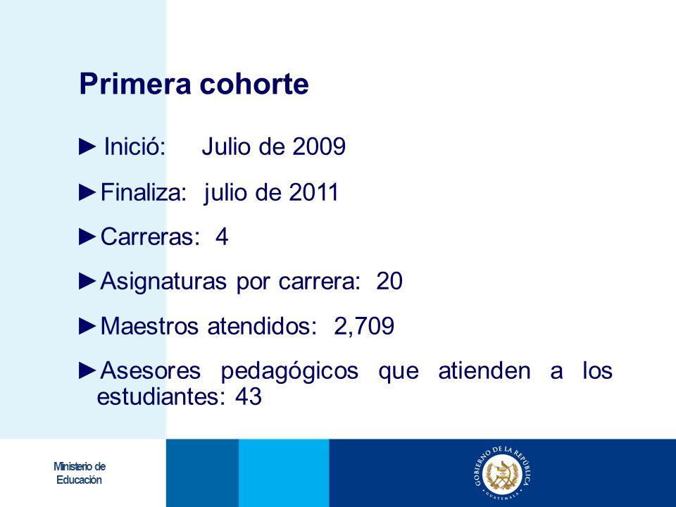 Primera cohorte Inició: Julio de 2009 Finaliza: julio de 2011