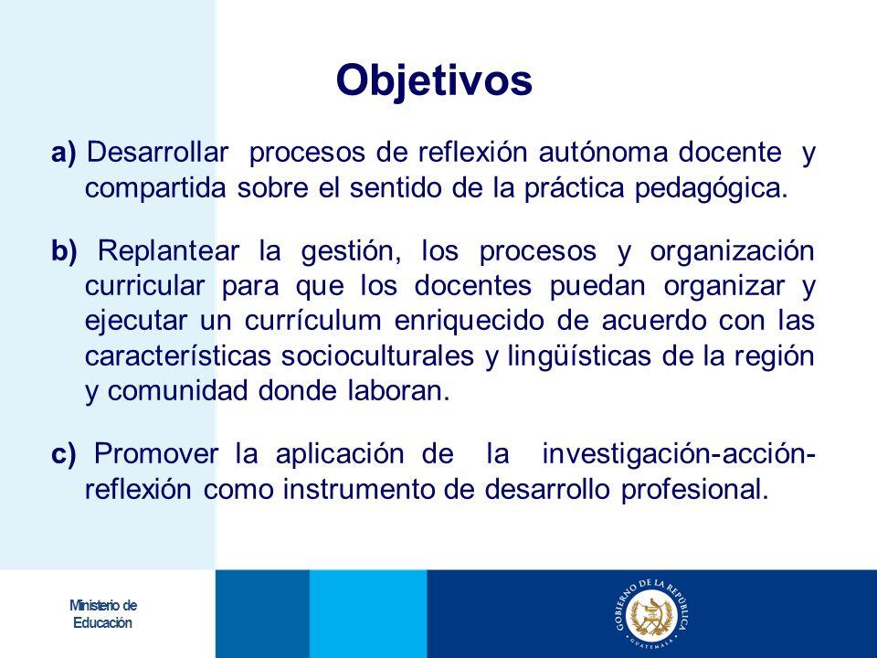 Objetivos a) Desarrollar procesos de reflexión autónoma docente y compartida sobre el sentido de la práctica pedagógica.