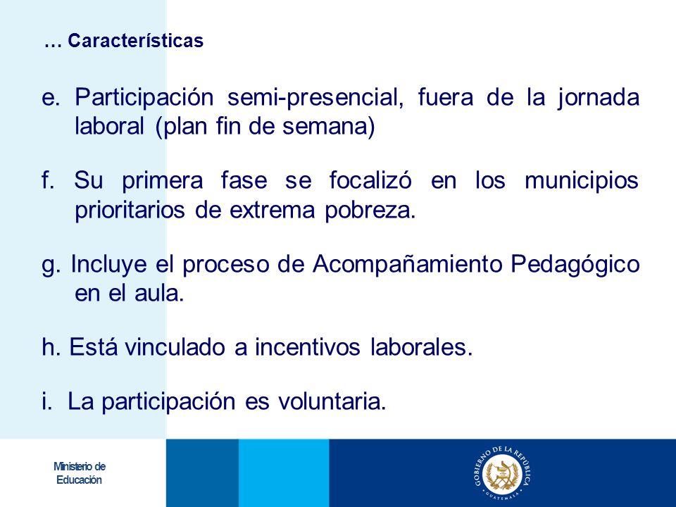g. Incluye el proceso de Acompañamiento Pedagógico en el aula.