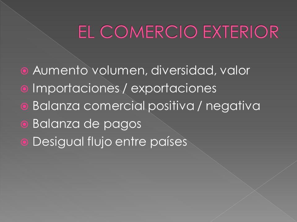 EL COMERCIO EXTERIOR Aumento volumen, diversidad, valor