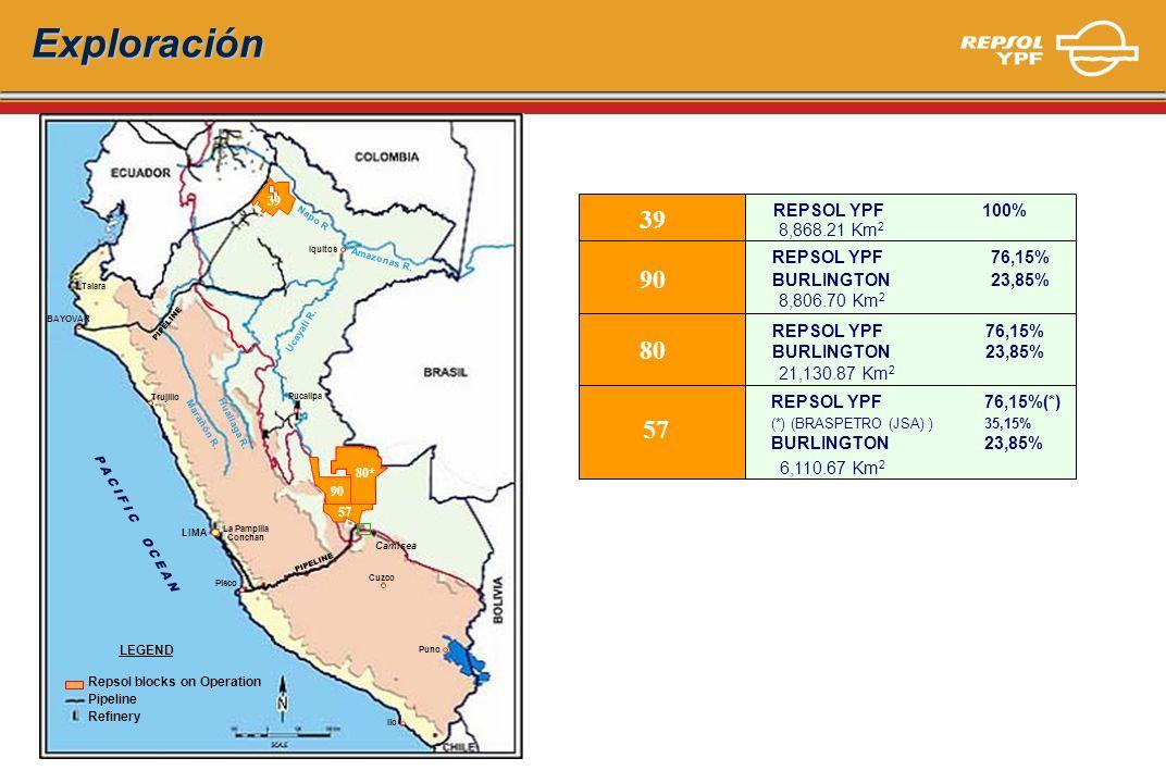 Exploración 39. 39. REPSOL YPF 100% Napo R. 8,868.21 Km2. Iquitos. REPSOL YPF 76,15% BURLINGTON 23,85%