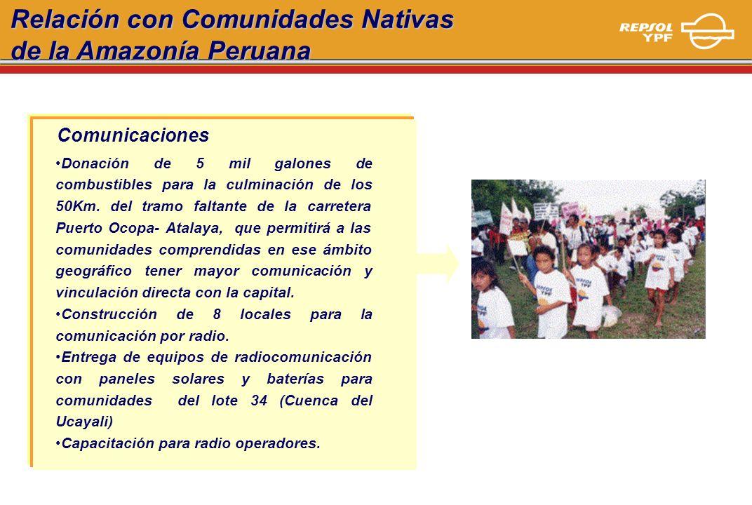 Relación con Comunidades Nativas de la Amazonía Peruana