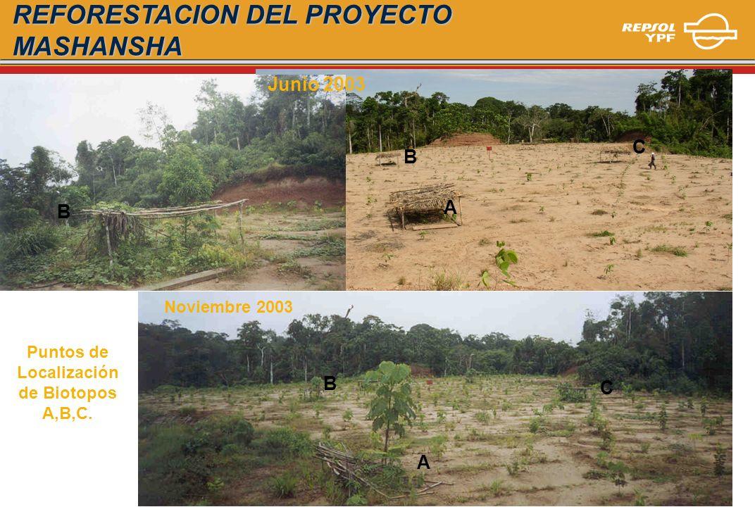 Puntos de Localización de Biotopos A,B,C.