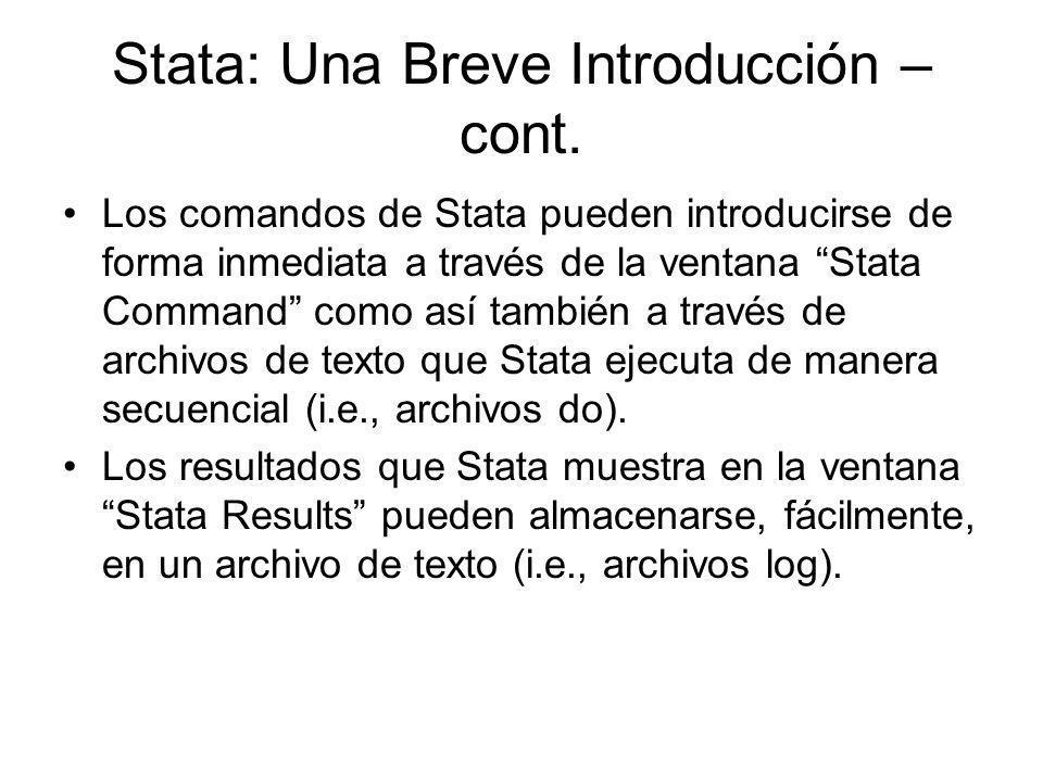 Stata: Una Breve Introducción – cont.