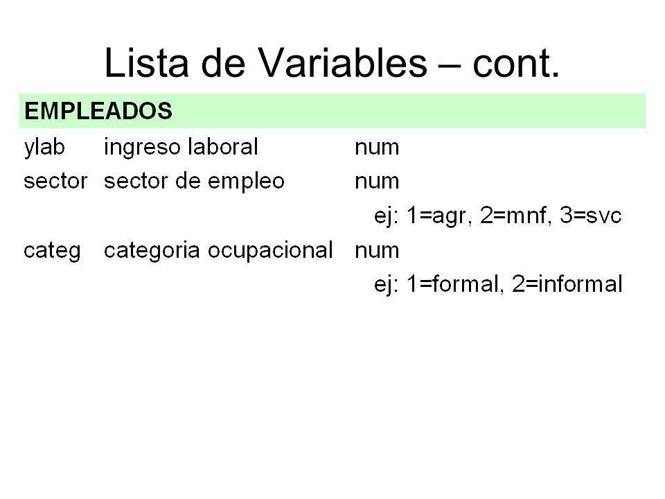 Lista de Variables – cont.