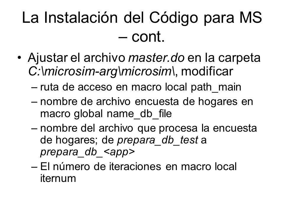 La Instalación del Código para MS – cont.