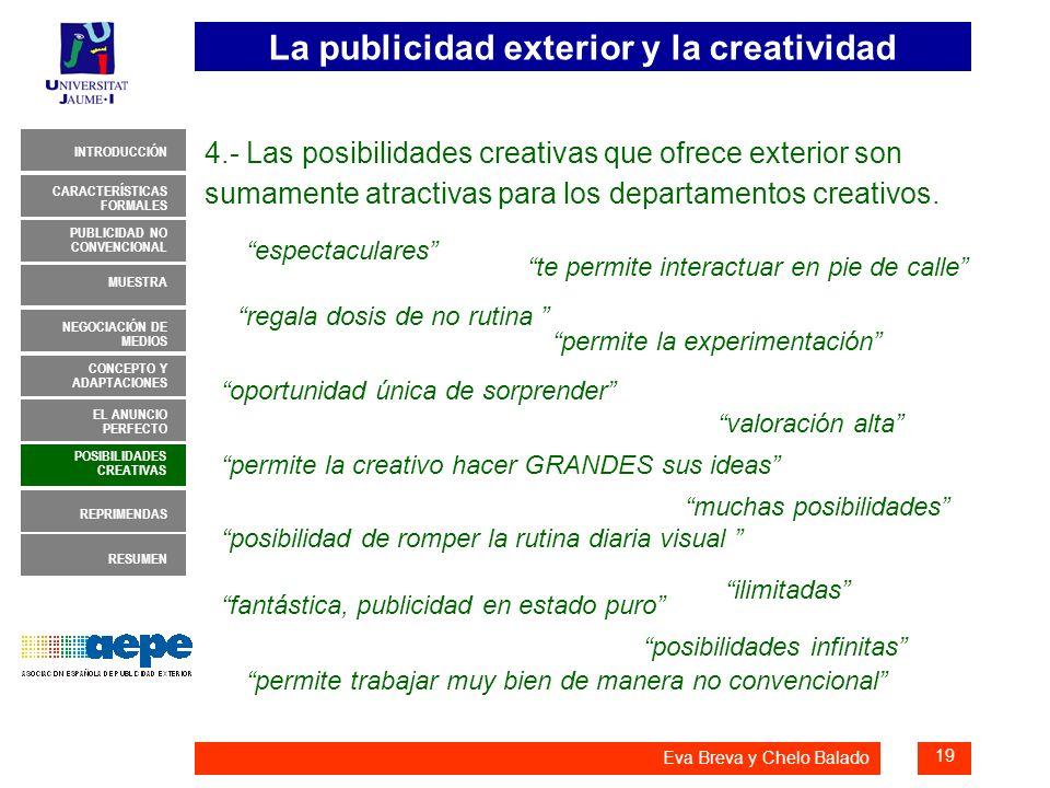 4.- Las posibilidades creativas que ofrece exterior son sumamente atractivas para los departamentos creativos.