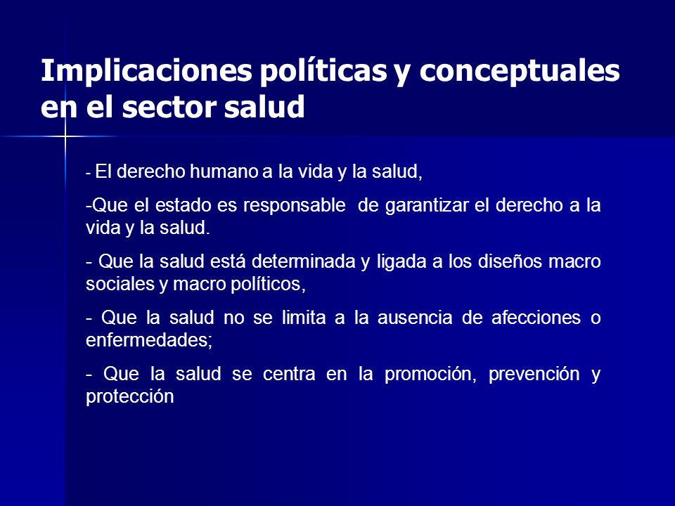 Implicaciones políticas y conceptuales en el sector salud