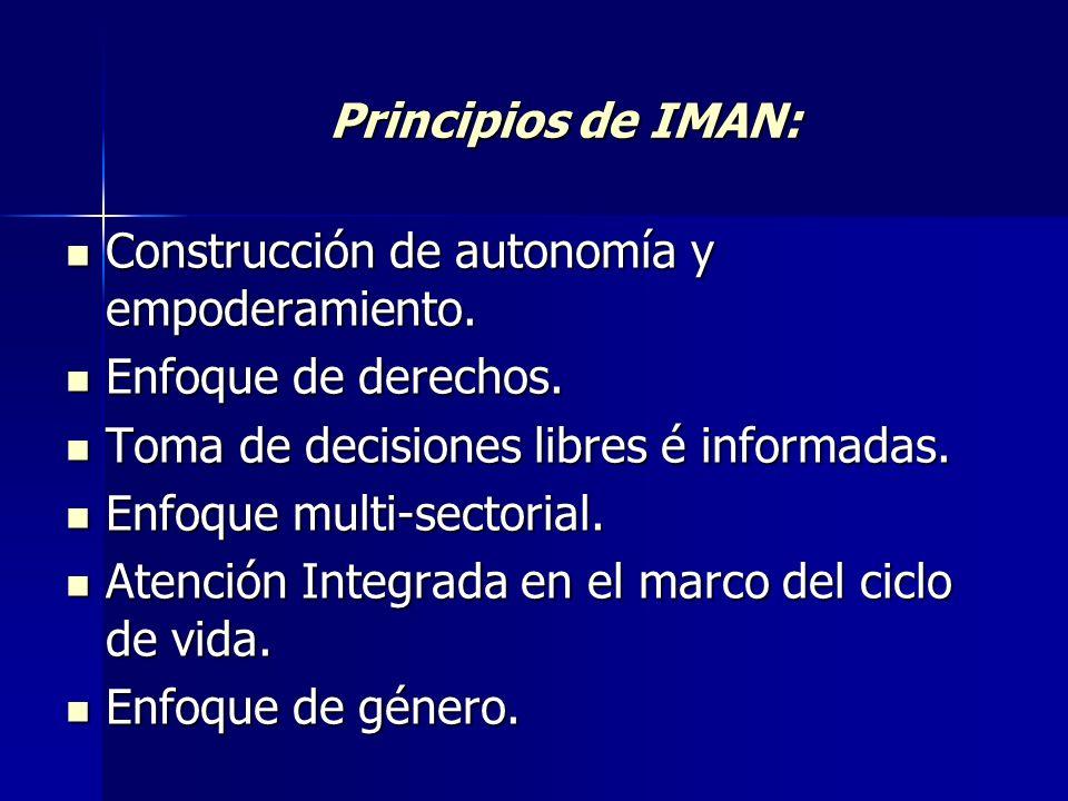 Principios de IMAN: Construcción de autonomía y empoderamiento. Enfoque de derechos. Toma de decisiones libres é informadas.