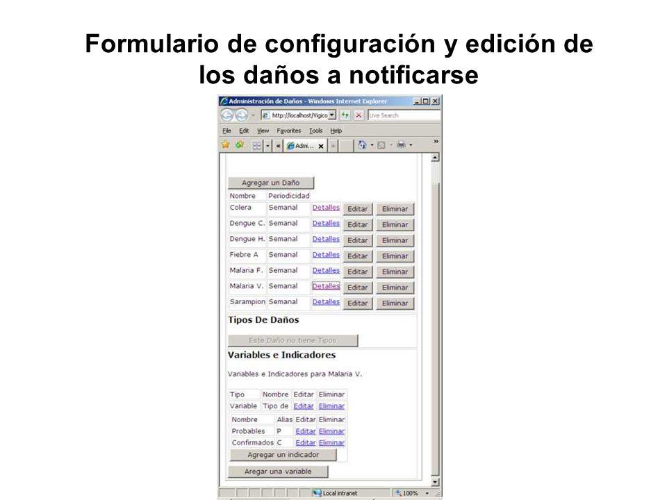Formulario de configuración y edición de los daños a notificarse