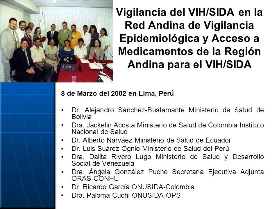 Vigilancia del VIH/SIDA en la Red Andina de Vigilancia Epidemiológica y Acceso a Medicamentos de la Región Andina para el VIH/SIDA