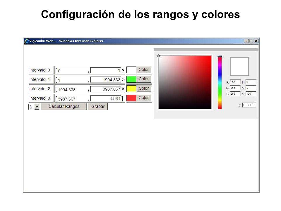 Configuración de los rangos y colores