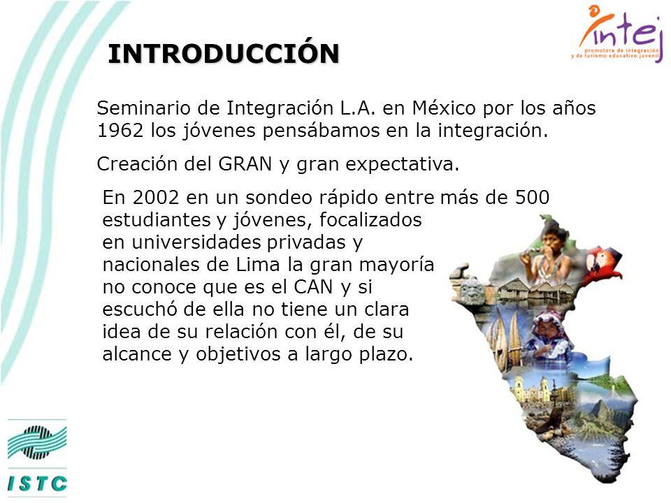 INTRODUCCIÓN Seminario de Integración L.A. en México por los años 1962 los jóvenes pensábamos en la integración.