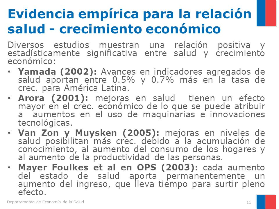 Evidencia empírica para la relación salud - crecimiento económico
