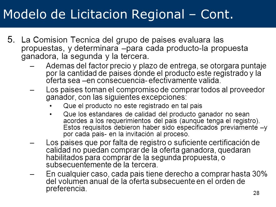 Modelo de Licitacion Regional – Cont.