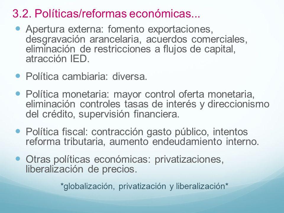 3.2. Políticas/reformas económicas...