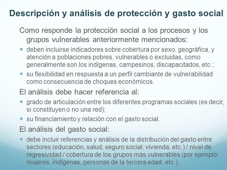 Descripción y análisis de protección y gasto social