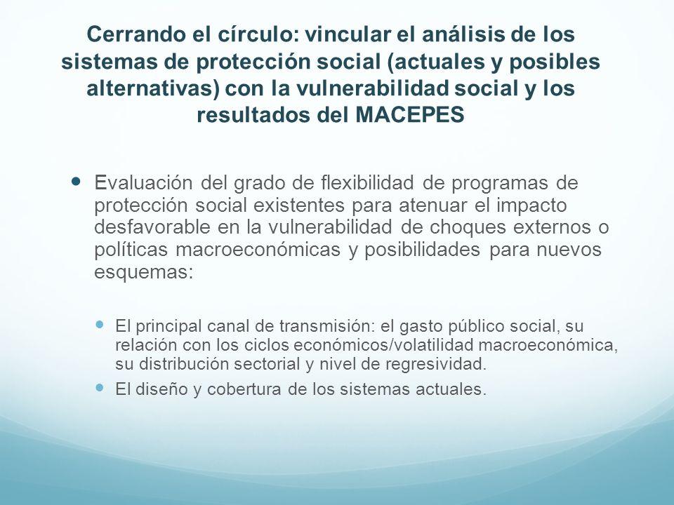 Cerrando el círculo: vincular el análisis de los sistemas de protección social (actuales y posibles alternativas) con la vulnerabilidad social y los resultados del MACEPES