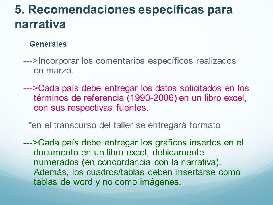 5. Recomendaciones específicas para narrativa