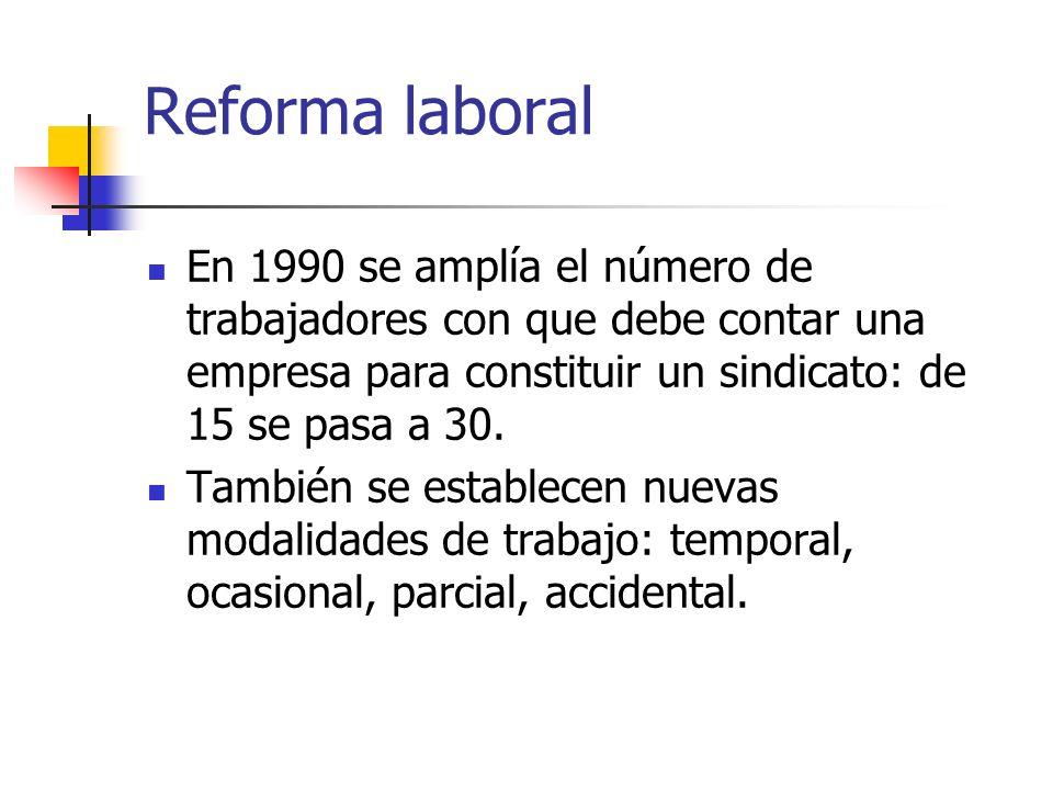 Reforma laboral En 1990 se amplía el número de trabajadores con que debe contar una empresa para constituir un sindicato: de 15 se pasa a 30.