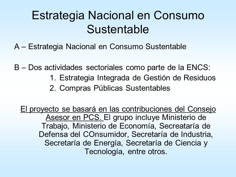 Estrategia Nacional en Consumo Sustentable
