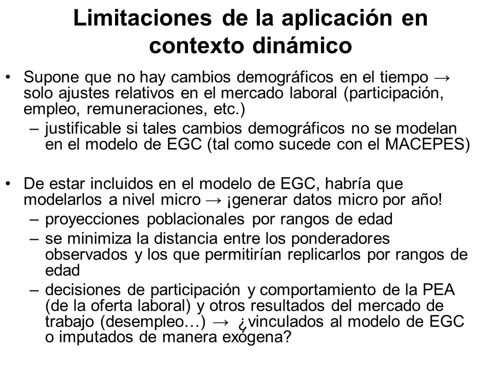 Limitaciones de la aplicación en contexto dinámico