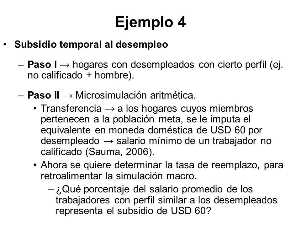 Ejemplo 4 Subsidio temporal al desempleo