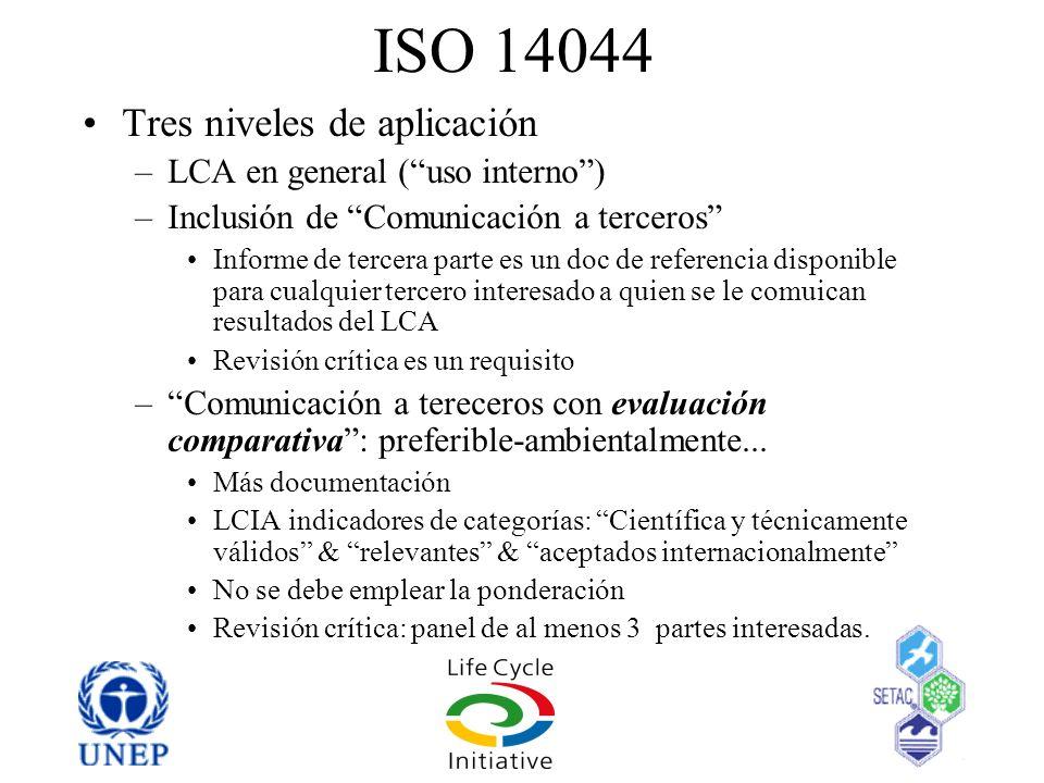 ISO 14044 Tres niveles de aplicación LCA en general ( uso interno )