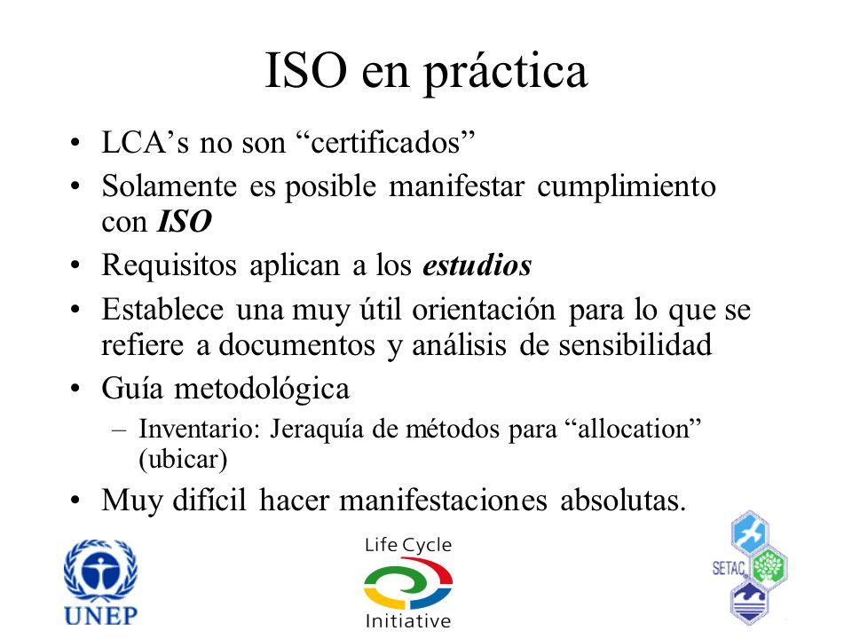 ISO en práctica LCA's no son certificados