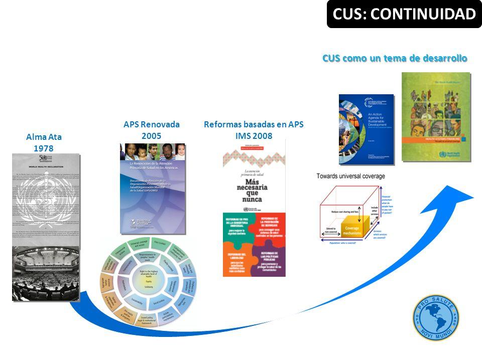 CUS como un tema de desarrollo Reformas basadas en APS